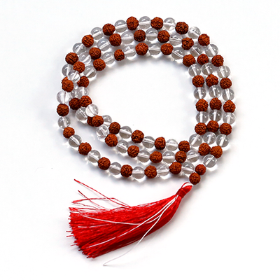 Orgonite Clear Quartz and Rudraksh Japa Mala Stone Necklace