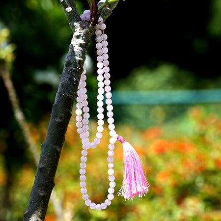 Orgonite Rose Quartz Crystal Japa Mala Stone Necklace