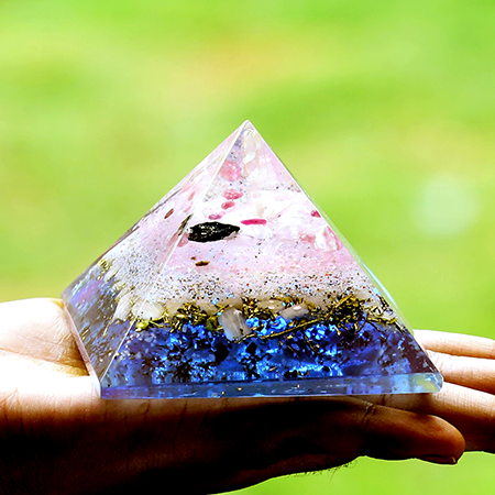 Orgonite Vibes Rose Quartz  with Multi Tourmaline for emf Protection Pyramid