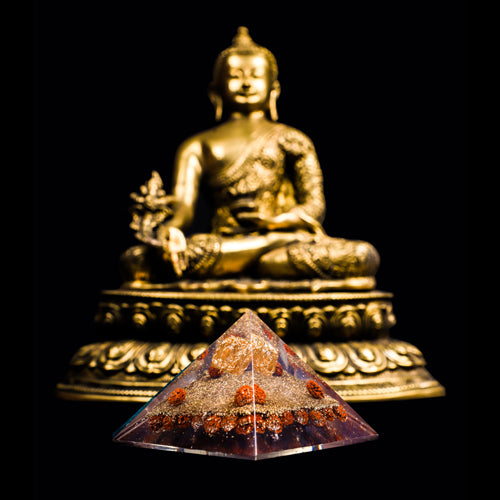 Orgonite Rudraksha with Copper Wounded Pyramid For Peace