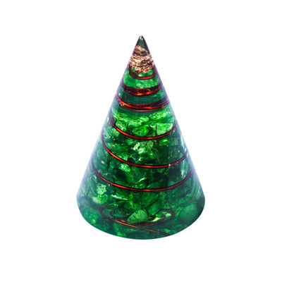 Powerful Green Onyx Orgonite Cone Pyramid-Stone Of Opportunity