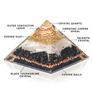 Orgonite Black Tourmaline With Copper Beads Pyramid