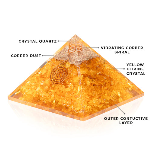 Orgonite Citrine Energy Accumulator Pyramid