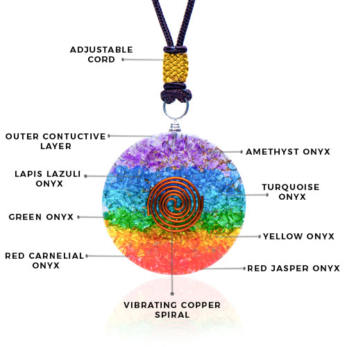 Seven Chakra Onyx Orgone Healing Pendant with Copper Spiral for Chakra Balancing Gemstone Crystals Pendant Reiki Stones Based Size 40-50mm