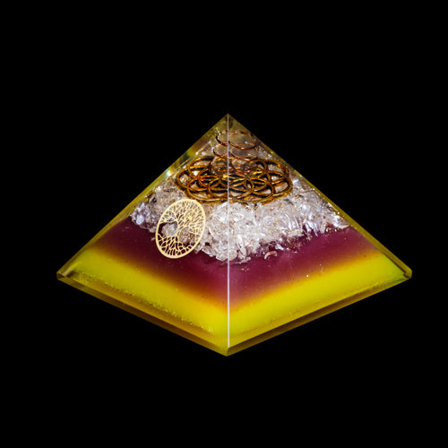 Orgonite Pyramid With Quartz Copper Spiral and Flower Of Life