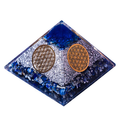 Orgonite Lapis Lazuli 4 Side Flower Of Life Pyramid