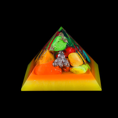 Orgonite Tumbled Stones Pyramid for Confidence and Meditation