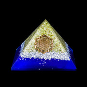 Orgonite Peridot Pyramid With Flower Of Life