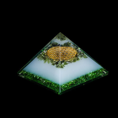 Orgonite Moldavite  Pyramid with Flower Of Life
