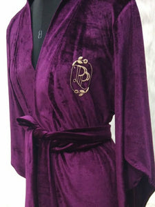Velour bridal robe