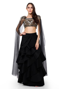 Metallic blouse with a frill lehenga