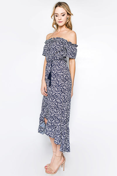 Blue Daisy Off The Shoulder Dress