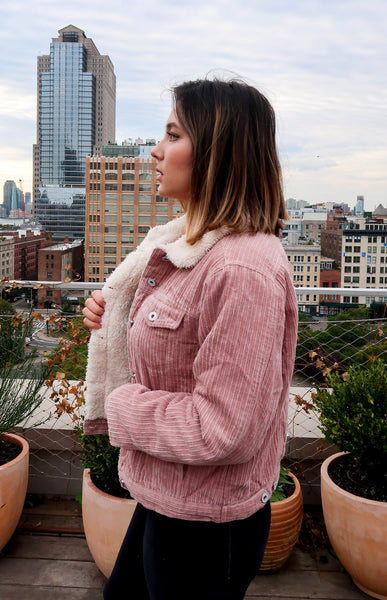Thinking Pink Corduroy Jacket - John and Suki