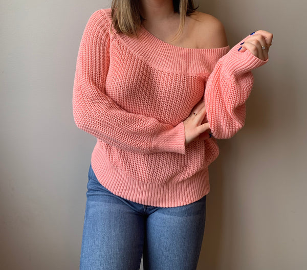 Coral Off The Shoulder Sweater - John and Suki