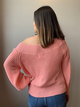 Load image into Gallery viewer, Coral Off The Shoulder Sweater - John and Suki