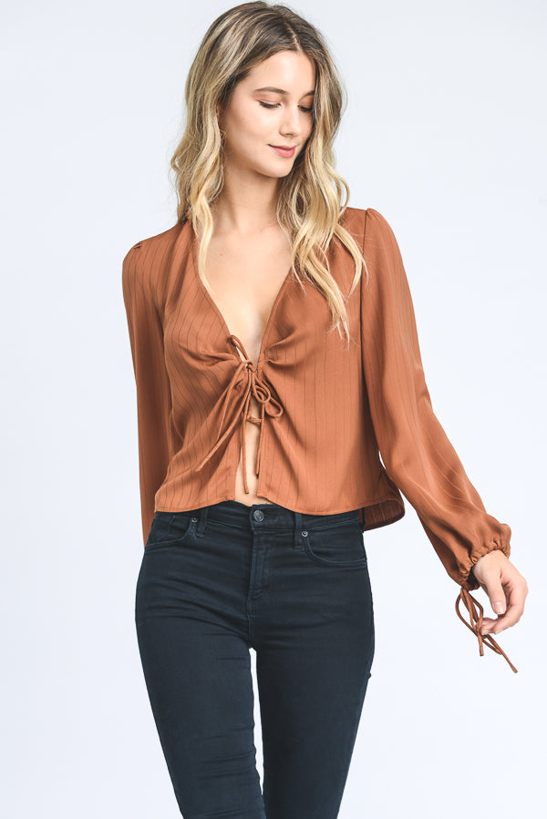 Nights Like This Front Tie Blouse - John and Suki