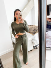 Load image into Gallery viewer, Olive Lounge Knotted Crop Top