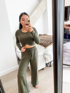 Olive Lounge Knotted Crop Top