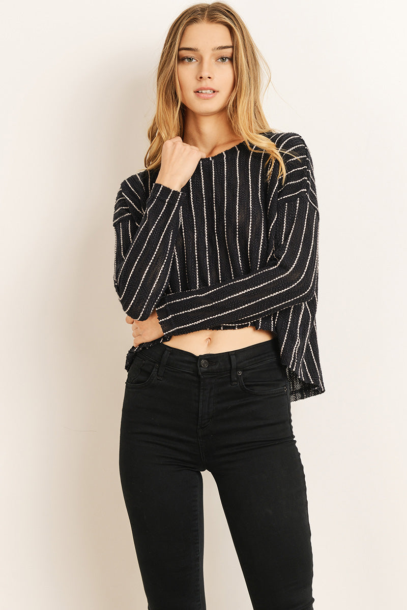 All About It Striped High Low Sweater - John and Suki