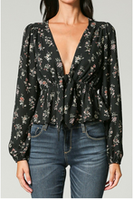 Load image into Gallery viewer, Floral Rush Front Tie Shirt - John and Suki