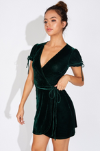 Load image into Gallery viewer, Hunter Green Velvet Wrap Dress - John and Suki