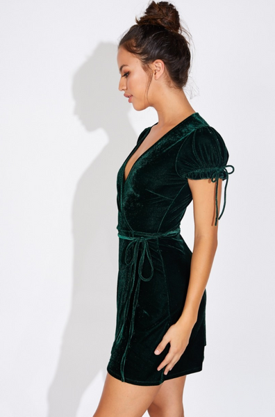 Hunter Green Velvet Wrap Dress - John and Suki