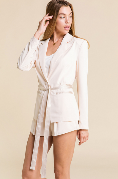 Blush Crush Satin Blazer - John and Suki