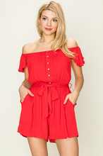 Load image into Gallery viewer, Here With Me Red Off The Shoulder Romper - John and Suki