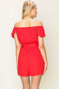 Here With Me Red Off The Shoulder Romper - John and Suki