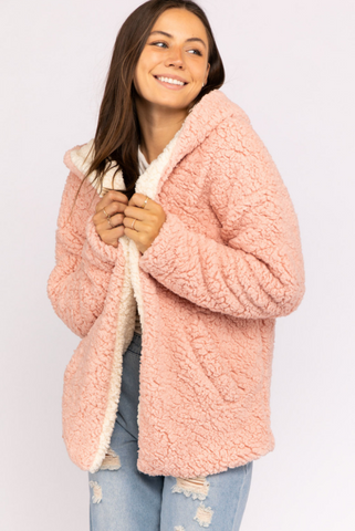 Eliza Reversible Pink and Ivory Sherpa Sweater - John and Suki