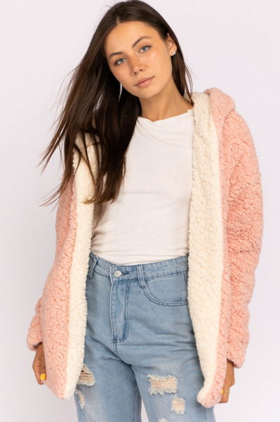 Eliza Reversible Pink and Ivory Sherpa Sweater