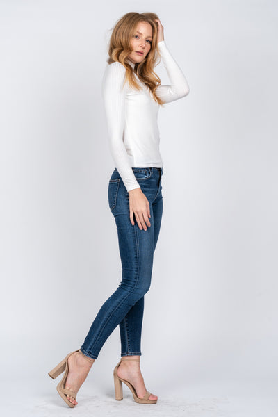 Leona White Ribbed Long Sleeve Turtleneck - John and Suki
