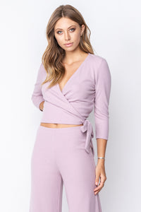 Bella Lilac Ribbed Ballet Wrap Top - John and Suki