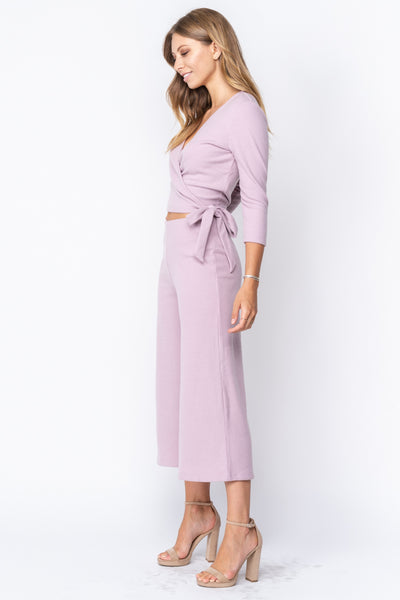 Bella Lilac Ribbed Wide Leg Cropped Pants - John and Suki