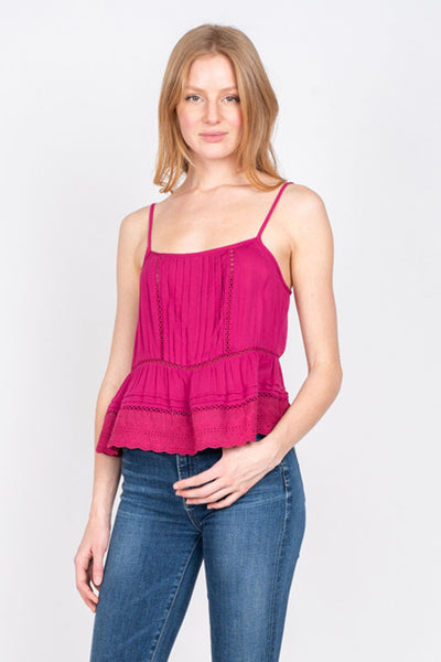 Pink Lily Lace Cami Tank - John and Suki