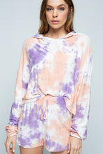 Load image into Gallery viewer, Violet Tie Dye Cropped Hoodie