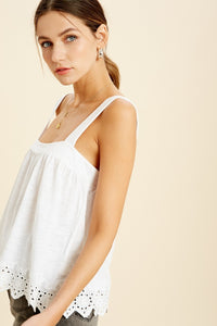 Young Once Ivory Eyelet Tank - John and Suki