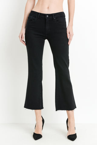 Black High Rise Crop Flare Jeans - John and Suki
