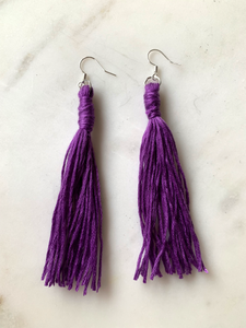Purple Tassel Earrings - John and Suki