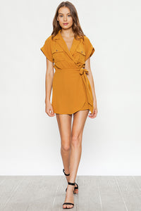 On A Safari Mustard Short Sleeve Romper - John and Suki