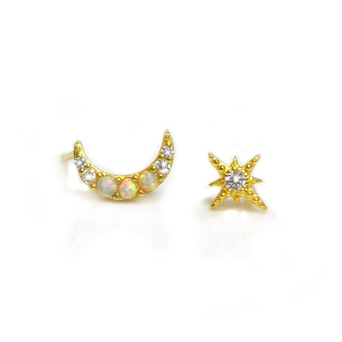 Opal and Diamond Celestial Dream Studs - John and Suki
