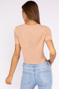 Dusty Peach Cropped Cardigan - John and Suki
