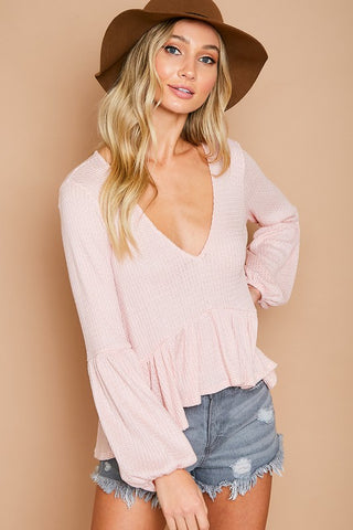 Everything I Wanted Pink Waffle Knit Top