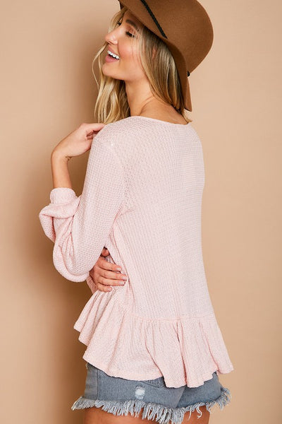 Everything I Wanted Pink Waffle Knit Top - John and Suki