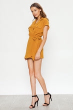 Load image into Gallery viewer, On A Safari Mustard Short Sleeve Romper - John and Suki