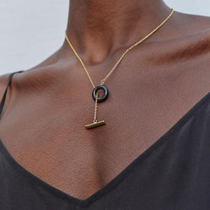 Mixed Material Kumi Lariat Necklace - John and Suki