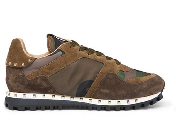 ROCKSTUD SUEDE AND CAMOFALUGE-PRINT SHELL SNEAKERS