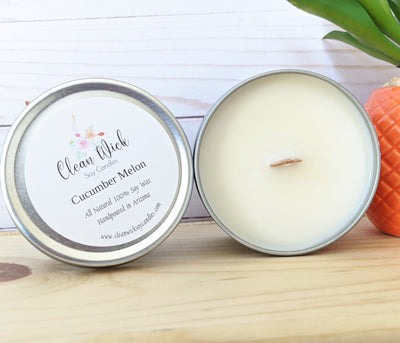 Handpoured Eco Friendly Soy Wax Candle with Woodwick, Cucumber Melon