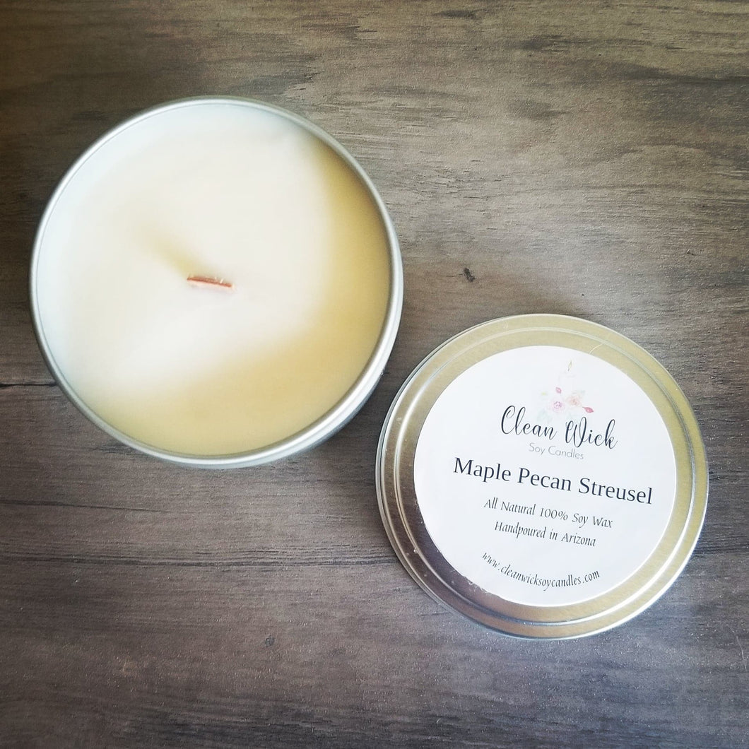 Handpoured Eco Friendly Soy Wax Candle with Woodwick, Maple Pecan Streusel