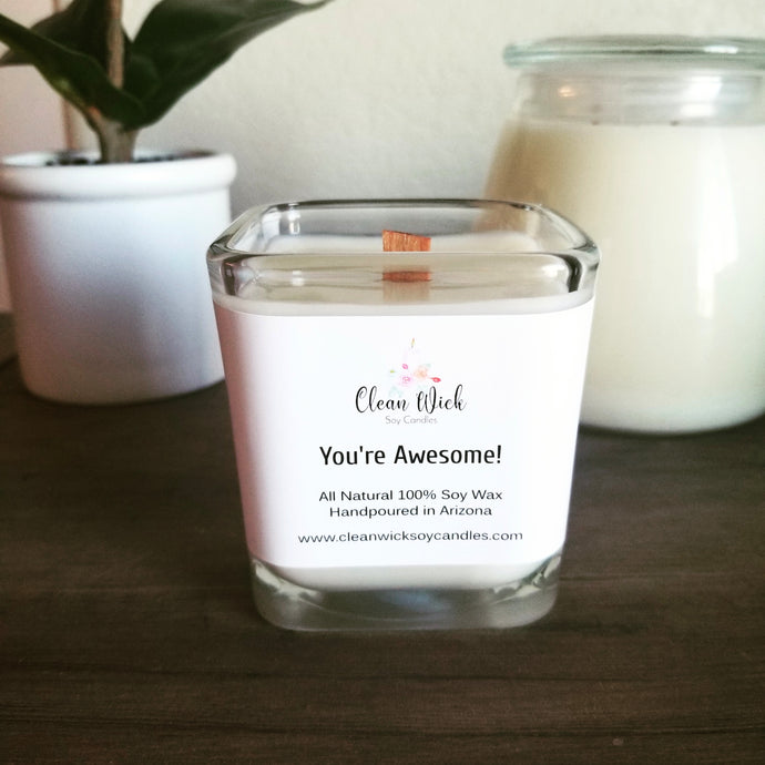 Handpoured Soy Wax Candle with Woodwick, Eco Friendly Candle, CUSTOM LABEL